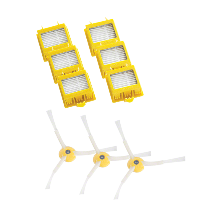 Kombinovaná sada třech bočních kartáčků a třech párů filtrů pro robotický vysavač Roomba série 700